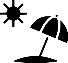 Image: sun and parasol on beach icon