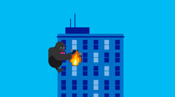 Animation Graphic: King Kong on side of burning building DR Disaster Recovery