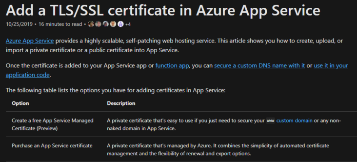 Image: Add a TLSSSL certificate in Azure App Service screen
