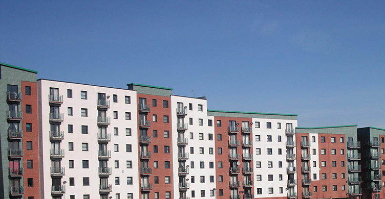 Image: Housing Association Apartment blocks with Blue Sky