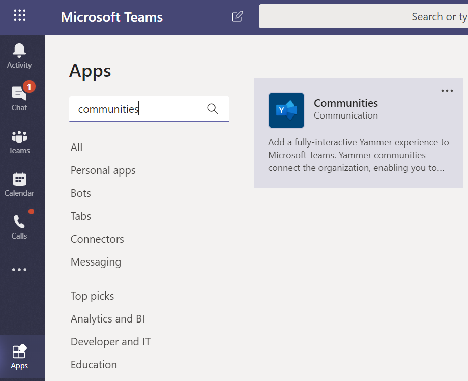 Image: Apps page in Teams screen shot