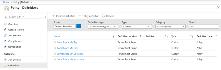 Image: Azure Policy definitions screen shot
