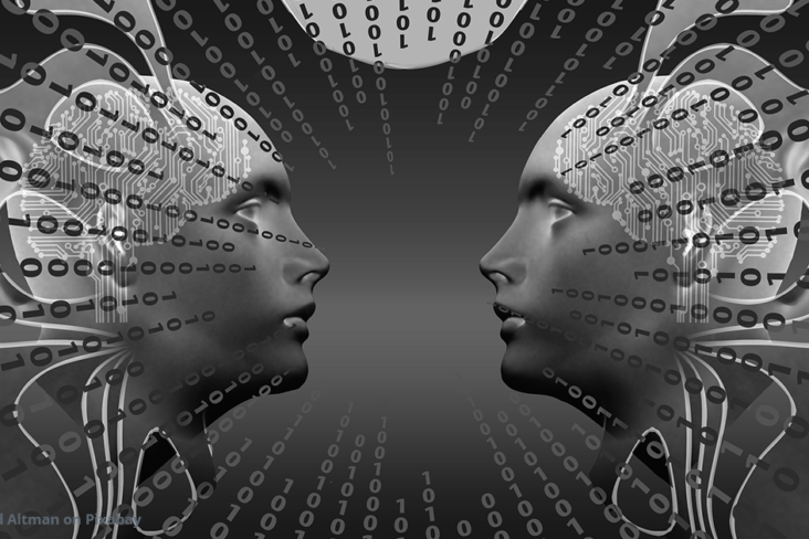 Image: Identity mirrored faces with binary code overlay
