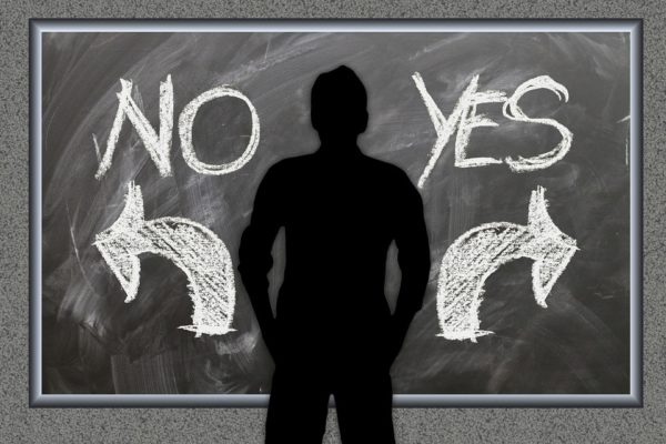 Image: person shadow in front blackboard with Yes No arrows