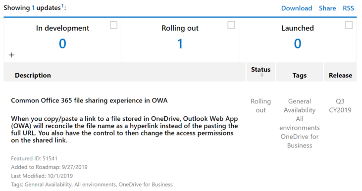 Image: Common Office 365 file sharing experience in OWA