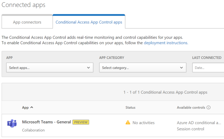Image: Conditional access app control preview screen