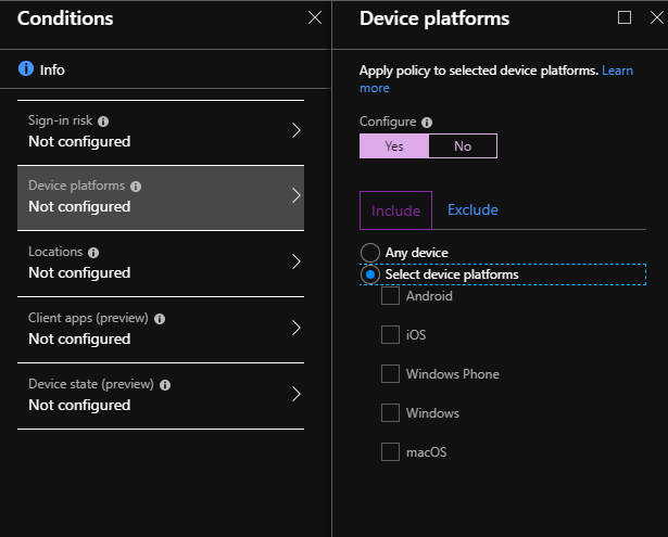 Image: Conditional access window