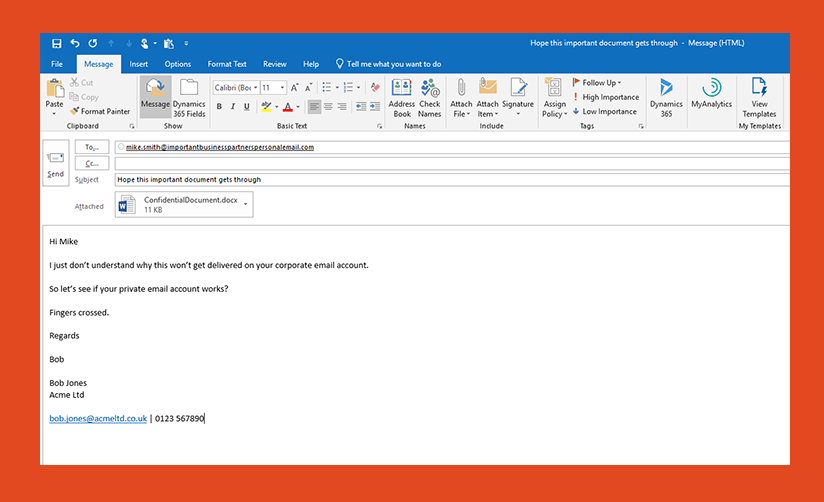 Image: Screenshot of email
