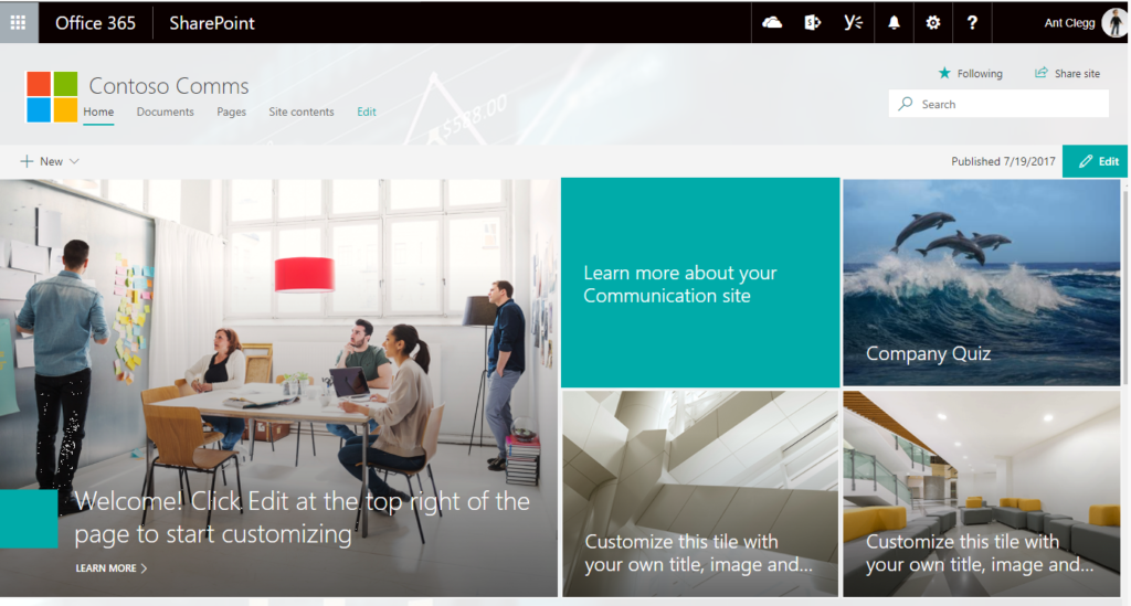 Example Microsoft Communication Site Tile Layout For Header