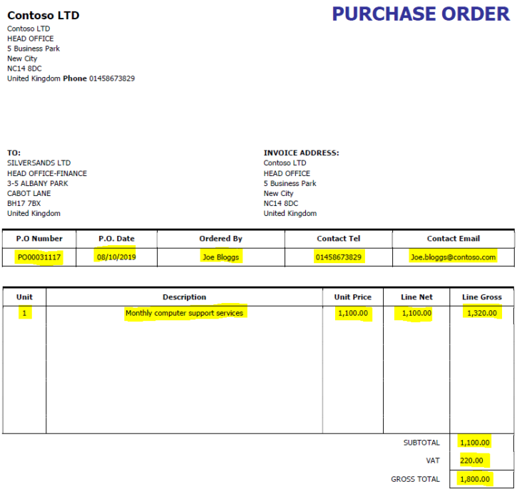 Image: Contoso Purchase order example