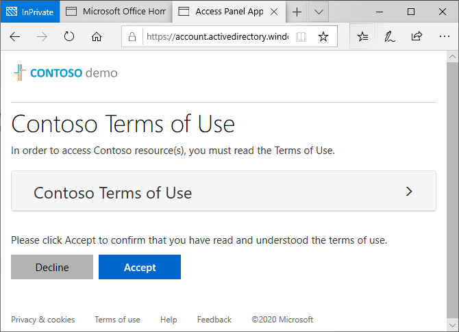 Image: Contoso Terms of Use message