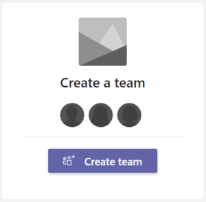Image: Microsoft Teams create Team button