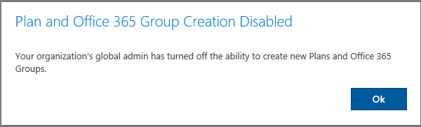 Image: Disabled Plan and O365 Group notification