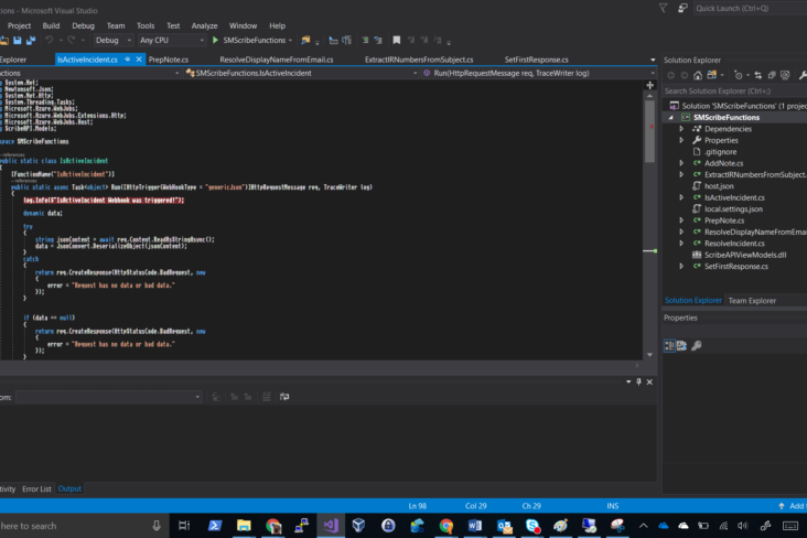 Image: Visual studio screenshot