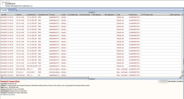 Screen shot of logs from Forefront Mgt Gateway