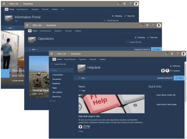 Image: Hub sites SharePoint Online Information Portal, Operations and Helpdesk screens montage