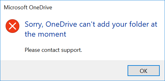Image: IRM OneDrive Error screen