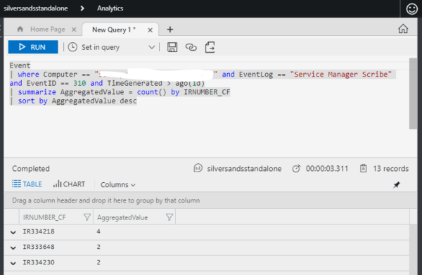 mage: Azure Log Analytics query editor screen shot