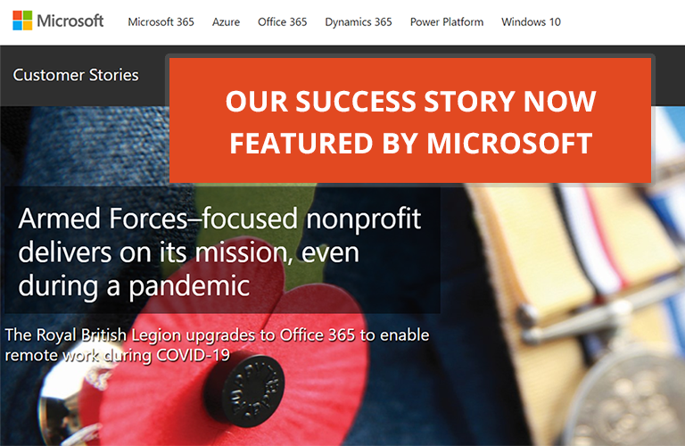Image: Office 365 story The Royal British Legion featuring close up of a poppy on a lapel next to medals