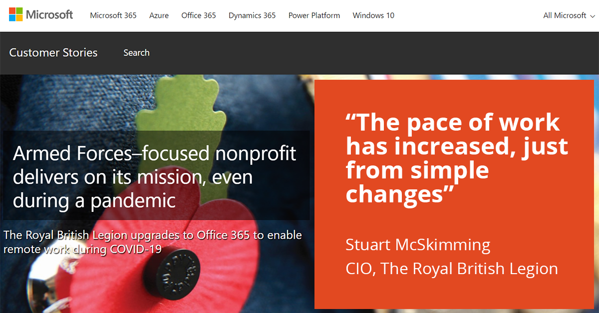 Image: Microsoft Customer Story page with The Royal British Legion and a poppy image
