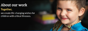 Image: PowerApps Hackathon Make a wish banner with statement and little girl