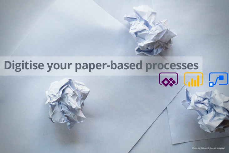 Image: Microsoft Services Digitise your paper-based services header Screwed up paper Power Automate Power Bu and Power Apps icons