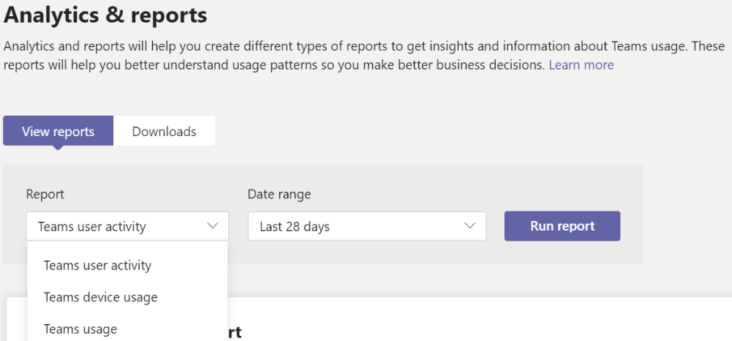 Image: Microsoft Teams Analytics screen