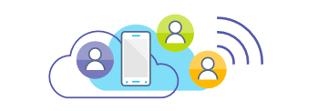 Illustration showing mobile within cloud, wi fi icon and three user icons depicting different location types