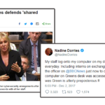 Image: Nadine Dorries Tweet about sharing passwords