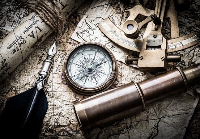 Image: Old map, sextant, compass, telescope and pen