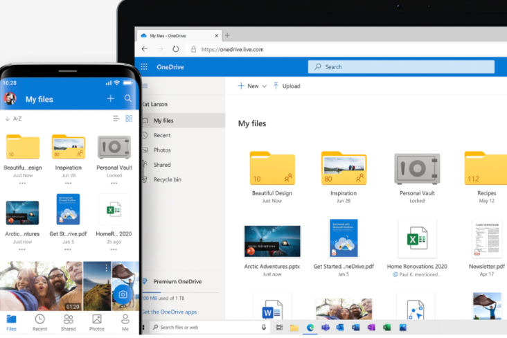 Image: OneDrive MSFT Mobile and Desktop screens