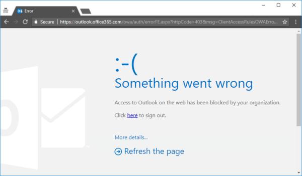 Image: Exchange OnlinClient Access Rule Blocked Outlook screen