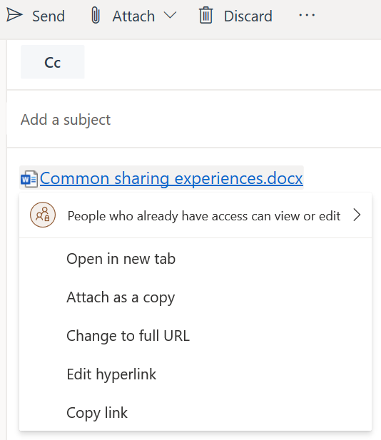 Image: Outlook sending and sharing options