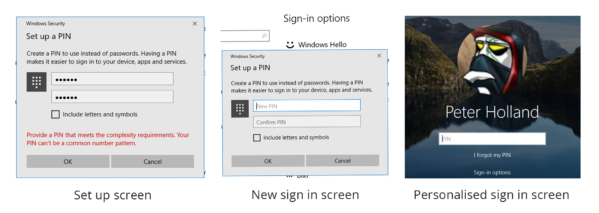 Image: PIN screens