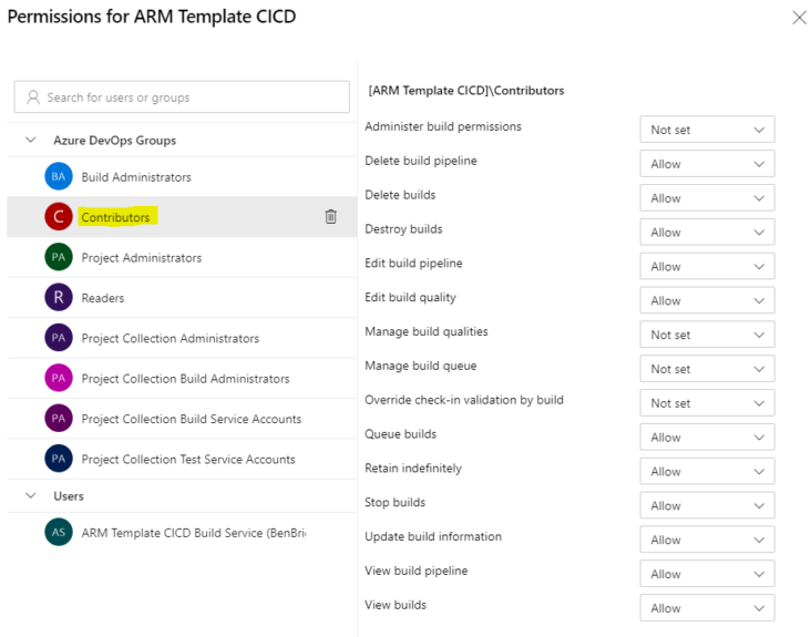 Image: Permissions for ARM Template CICD
