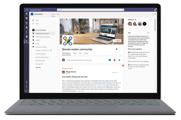 Image: Yammer Communities app in Teams screen on laptop