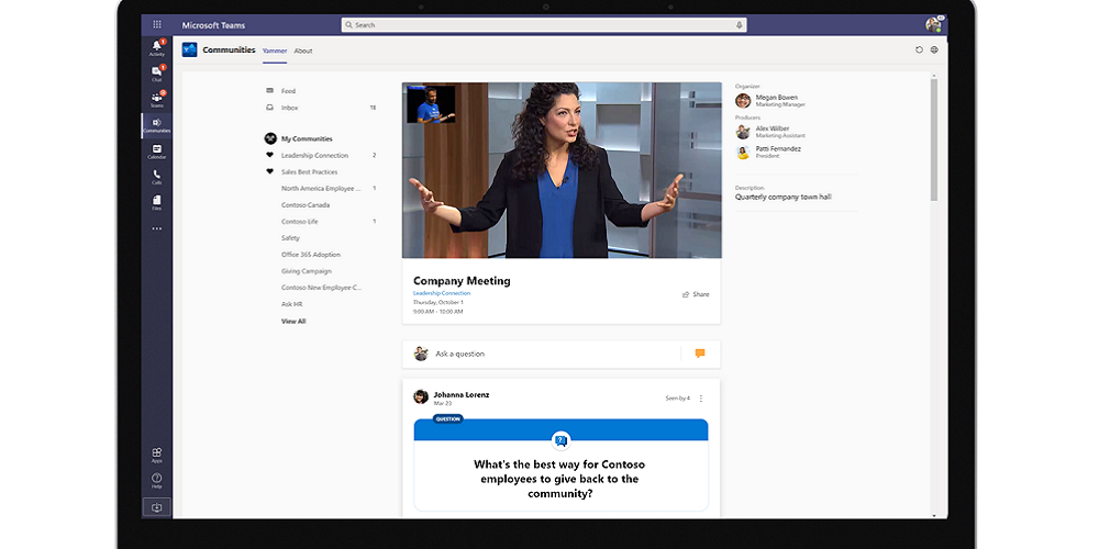 Image: Yammer app in Teams live event hosting Company meeting