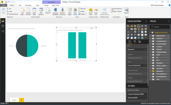 Image: Power BI screen shot showing Visual Tools