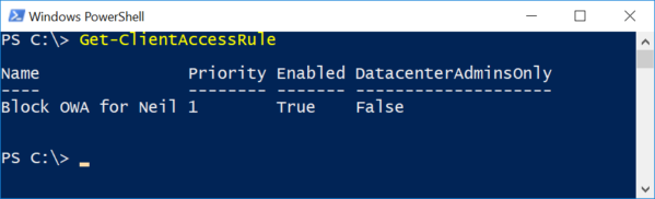 Image: Exchange Online PowerShell Client Acces Rule Block OWA screen