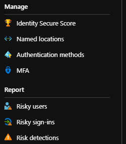 Image: Threats Report Risky Users, Sign Ins, Detections screen menu
