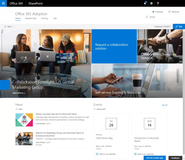Image: SharePoint Communication site Office 365 User Adoption