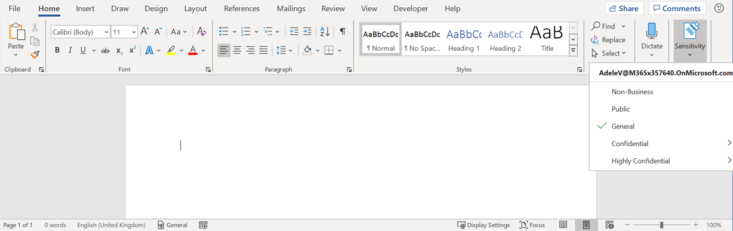 Image: Sensitivity Labels tab in Word sceen
