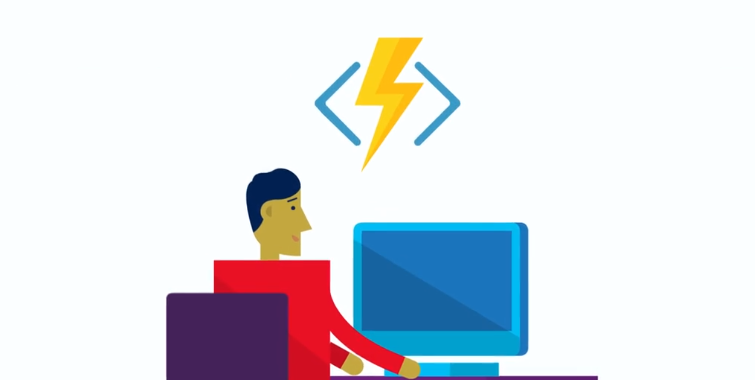 Image: Guy at desktop with serverless icon overhead