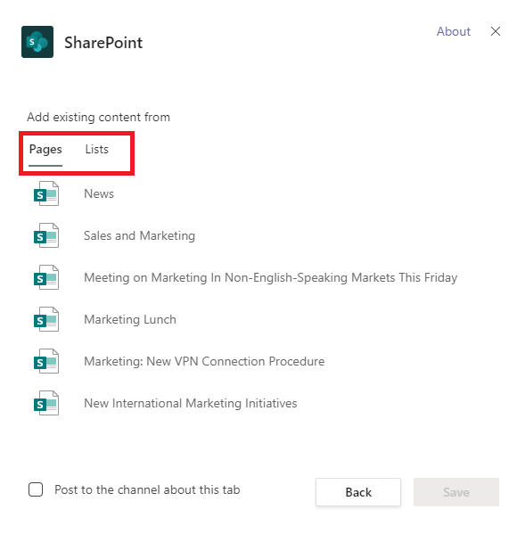 Image: SharePoint Channel tab