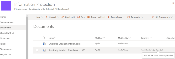 Image: SharePoint Information Protection page view showing manually added doc