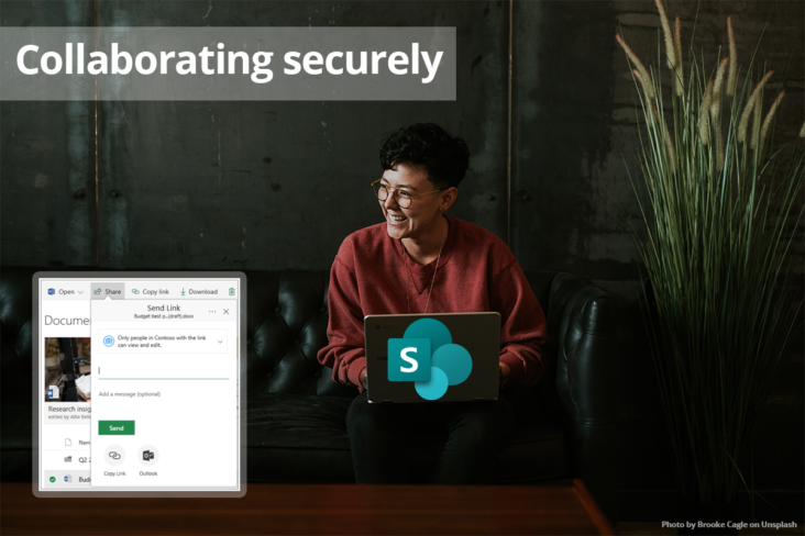 Image: SharePoint Safe collaboration woman on laptop