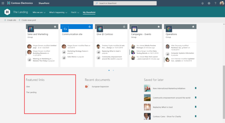 Image: SharePoint start page centrally customised content image