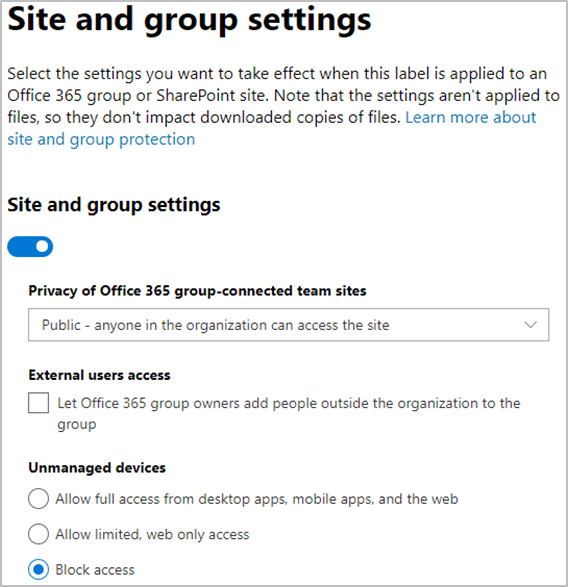 Image: Microsoft 365 O365 Site and group settings options window