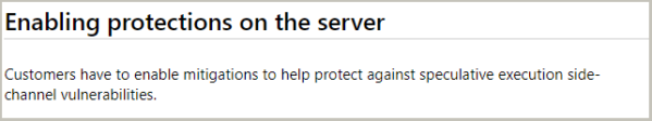 Image: Enabling protections on the server message