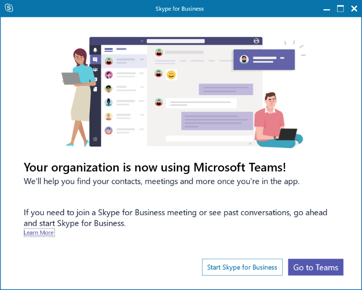 Image: Skype for Business pop up